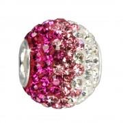 SilberDream Glitzer Bead Swarovski Elements pink ICE Silber GSB004