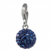 SilberDream Glitzer Charm Kugel 10mm blau Zirkonia Kristalle GSC220B