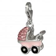 SilberDream Glitzer Charm Kinderwagen rosa Zirkonia Kristalle GSC501A