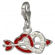 SilberDream Glitzer Charm Doppelherz rot Zirkonia Kristalle GSC503R