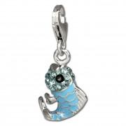 SilberDream Glitzer Charm Fisch hellblau Zirkonia Kristalle GSC507H