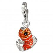 SilberDream Glitzer Charm Fisch orange Zirkonia Kristalle GSC507O