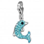 SilberDream Glitzer Charm Delfin hellblau Zirkonia Kristalle GSC516H