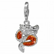 SilberDream Glitzer Charm Drache orange Zirkonia Kristalle 925 GSC524O