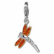 SilberDream Glitzer Charm Libelle orange Zirkonia Kristalle GSC534O