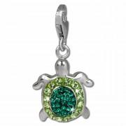SilberDream Glitzer Charm Schildkröte grün Zirkonia Kristalle GSC536G