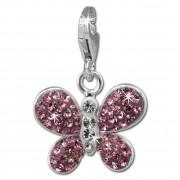 SilberDream Glitzer Charm Schmetterling rosa Zirkonia Kristalle GSC546A