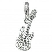 SilberDream Glitzer Charm E-Gitarre weiß Zirkonia Kristalle GSC552W