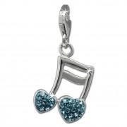 SilberDream Glitzer Charm Doppelnote Herz blau Zirkonia Kristalle GSC553H