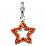 SilberDream Glitzer Charm Stern offen orange Zirkonia Kristalle GSC556O