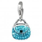 SilberDream Glitzer Charm Tasche klein hellblau Zirkonia Kristalle GSC558H