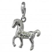 SilberDream Glitzer Charm Pferd weiß Zirkonia Kristalle Anhänger GSC570W