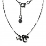 SilberDream Kette Schlange Zirkonia schwarz 925 Silber 41-44cm Halskette GSK400S