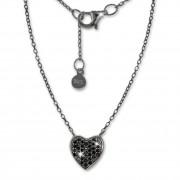 SilberDream Kette Herz Zirkonia schwarz 925er Silber 41-44cm Halskette GSK401S