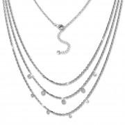 SilberDream 3er Layer Halskette Zirkonia weiß 925 Silber 44-47cm Kette GSK414W
