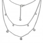 SilberDream 2er Layer Halskette Zirkonia weiß 925 Silber 42-47cm Kette GSK415W