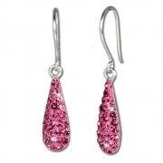 SilberDream Glitzer Ohrhänger Silber Zirkonia Kristalle pink GSO208P