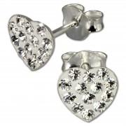 SilberDream Ohrring Herzen weiß 925er Silber Ohrstecker GSO251W