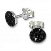 SilberDream Ohrring Rund schwarz 925er Silber Ohrstecker GSO252S