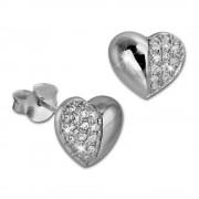SilberDream Ohrring Herz weiß 925er Silber Ohrstecker GSO2907J