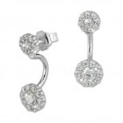 SilberDream Ohrstecker Dangle Ear Cuff Zirkonia Blume weiß 925 Silber GSO420W
