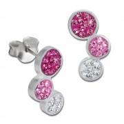 SilberDream Ohrstecker drei Kreise pink 925er Glitzer Kristalle GSO600P