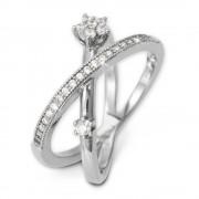 SilberDream Doppel Ring Zirkonia weiß Gr.58 925er Sterling Silber GSR400W58
