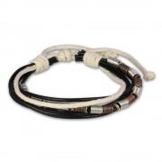 SilberDream Lederarmband schwarz Surferarmband Kordel-Armband LA1237W