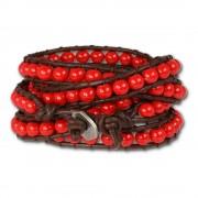 SilberDream Lederarmband Glas Kugel rot Damen Armband LA2624R