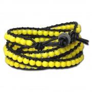 SilberDream Lederarmband Glas Kugel gelb Damen Armband LA2624Y