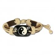 SilberDream Leder Armband braun Ying Yang Surferarmband LA3196B