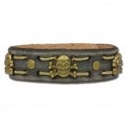 SilberDream Lederarmband grau Herren Leder Armband Totenkopf LA5351B
