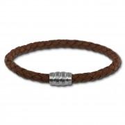 SilberDream Leder Armband 5mm braun 22cm Edelstahl Verschluss LAB0222