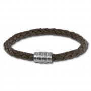 SilberDream Leder Armband dunkelbraun 20cm Edelstahl Verschluss LAB0320