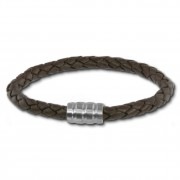 SilberDream Leder Armband dunkelbraun 22cm Edelstahl Verschluss LAB0322