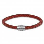 SilberDream Leder Armband 5mm rostrot 20cm Edelstahl Verschluss LAB0520