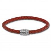 SilberDream Leder Armband 5mm rostrot 22cm Edelstahl Verschluss LAB0522