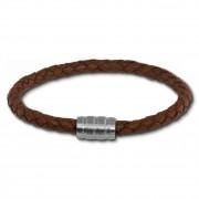 SilberDream Leder Armband braun 22cm Edelstahl Verschluss LAB0622