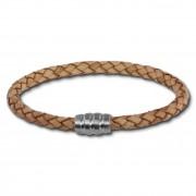 SilberDream Leder Armband 5mm natur 18cm Edelstahl Verschluss LAB0718