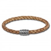 SilberDream Leder Armband 5mm natur 20cm Edelstahl Verschluss LAB0720