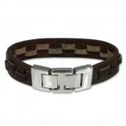 SilberDream Lederarmband braun Leder Edelstahl Armband LAP002B
