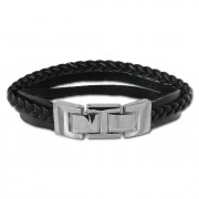 SilberDream Lederarmband Kordel schwarz Edelstahl Leder Armband LAP003S