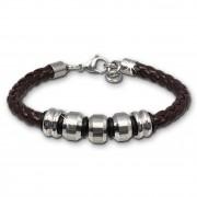 SilberDream Lederarmband Edelstahl Beads braun Leder Armband LAP006B
