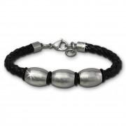 SilberDream Lederarmband Edelstahl Perle schwarz Leder Armband LAP007S