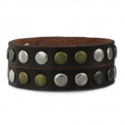 SilberDream Nieten-Lederarmband Wickeloptik braun Leder Armband LAP088B