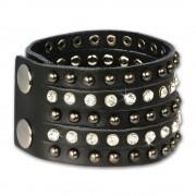 SilberDream Lederarmband schwarz Zirkonia Damen Leder Armband LAP231S