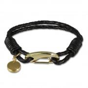 SilberDream Edelstahl golden Lederarmband schwarz Bolo-Armband LAP514S