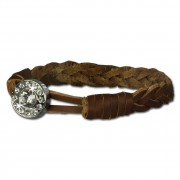 SilberDream Damen Lederarmband braun Glitzerverschluss Armband LAP522B