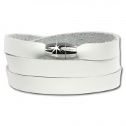 SilberDream Lederarmband weiß Wickelarmband Magnetverschluß LAP561W