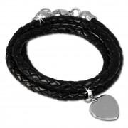 SilberDream Lederarmband schwarz Bolo-Wickelarmband Echt-Leder LAP599S